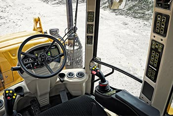 Hydrema 900F series backhoe loader working environment from the cab